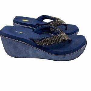 Volatile blue rhinestones wedge sandal size 7